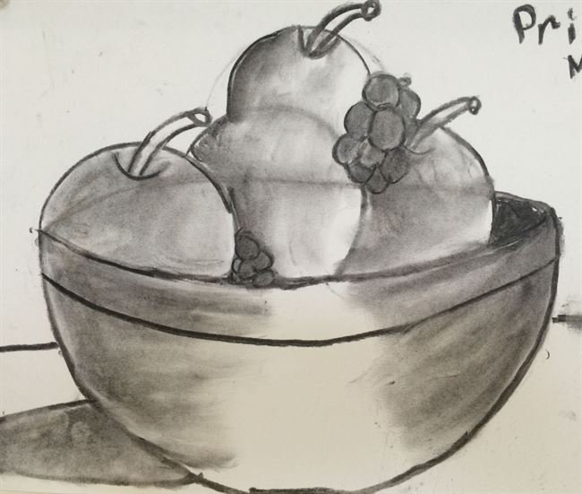 Summer Camp Artwork- Still life drawing of a bowl of fruit