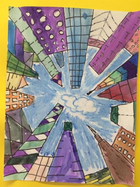 Summer Camp Artwork- Drawing of city buildings