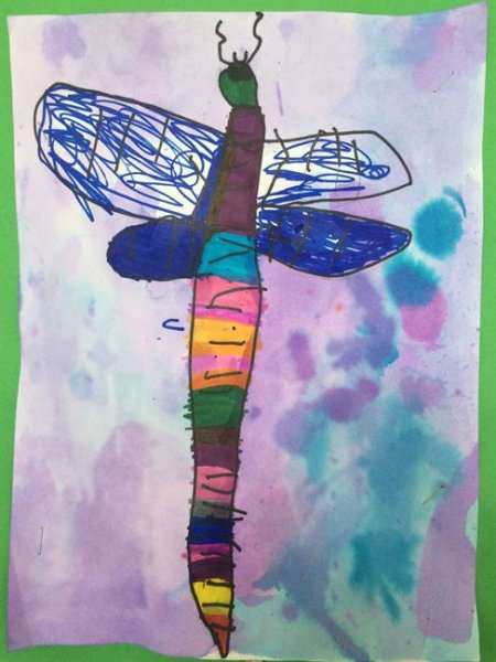 Summer Camp Artwork- Painting of a dragonfly