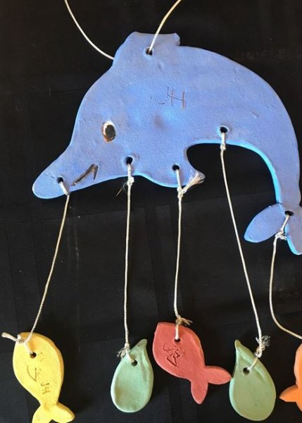 Summer Camp Artwork- Clay dolphin mobile