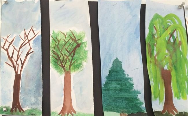 Summer Camp Artwork- Painting of 4 different trees