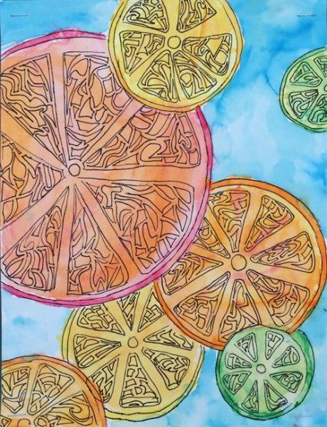 Summer Camp Artwork- Painting of fruit slices