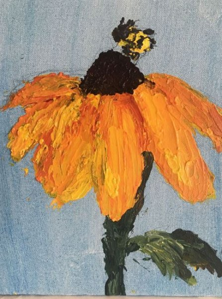 Summer Camp Artwork- Painting of sun flower with bee