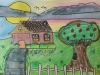 Summer Camp Artwork- Drawing of a house with an apple tree and white fence