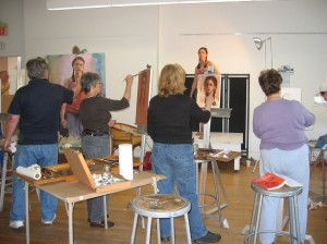 Photo of students in an Adult Life Painting Class
