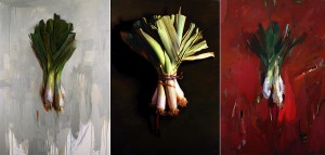 Tryptic painting of leeks by Gary Godby