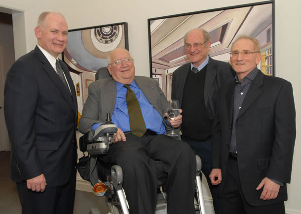 Photo Caption: from left to right, Paul Huegel, President of the Somerset Medical Center Foundation, Michael Graves, Mel Leipzig and Dr. John Cross, Board President, The Center for Contemporary Art