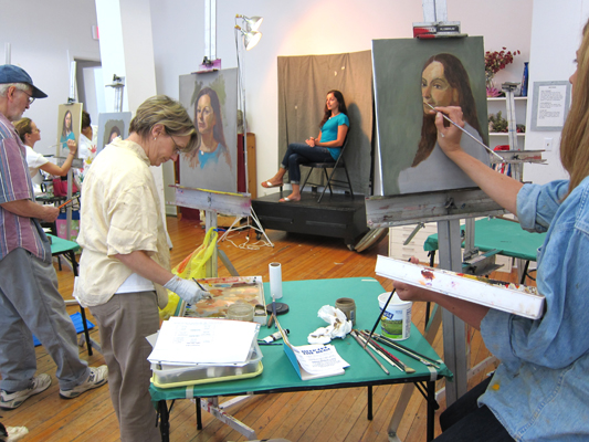 Photo of students in an adult Portrait Painting Class