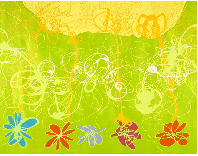 """""""Wild"""" (from the iPop series) 2008-09 Enamel paint on canvas 42×52"""" Serena Bocchino"""