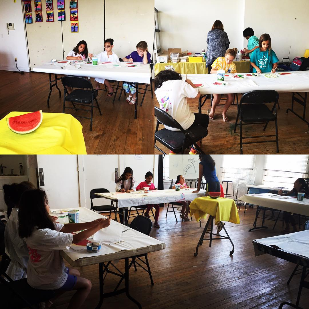 912 Mixed Media Morning campers working on their watermelon paintings!hellip
