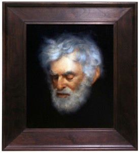 "Albert Appel, Emile B. Klein, Oil on Panel, 2011, 9.5"" x 11"", Visual portion of NJ based American profile, to be shown in exhibition."