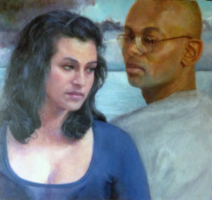 "Painting of the artist with a woman titled ""Ships"""